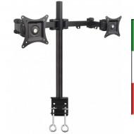 Staffa da scrivania per monitor 13-27• Supporta VESA 75x75 e 100x100 mm • Massimo peso supportato: 20 kg (10 kg per ogni attacco