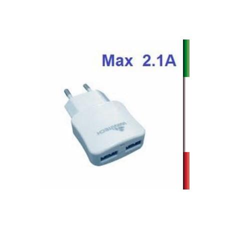 ADATTATORE  porta accend. a 3 PORTE USB , BIANCO 5V/2.1A