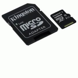 SD Memory Card MICRO 128GB SDC10G2/128GB CLASS10 UHS-I+ ADATTATORE KINGSTON