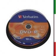VERBATIM DVD-R 16x 4.7GB 10Pk Spind Silv