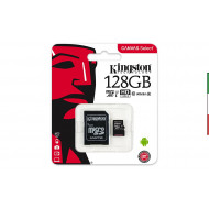 SD Memory MICRO SECURE DIGITAL 128GB SDCS/128GB CLASS10 UHS-I 80MB/S + ADATTATORE CANVAS SELECT KINGSTON