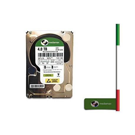HARD DISK SATA3 4TB MEDIAMAX 64MB 7200rpm REFURBESHED - SIGILLATO COME NUOVO- 12 MESI DI GARANZIA WL4000GSA6472B