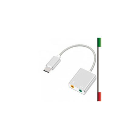 SCHEDA AUDIO ESTERNA USB-C CAI-18Plug and play, installazione automatica, non richiede l'alimentazione esterna.USB tipo C masch