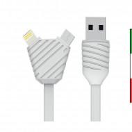 Cavo 2 in 1 di ricarica e sincronizzazione Lightning e Micro-USB dalla lunghezza di 100cm.