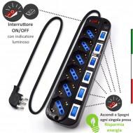 Multipresa con protezione da sovratensioni- 6 punti vendita individuali con tedesco / italiano- Ogni presa ha un interruttore O