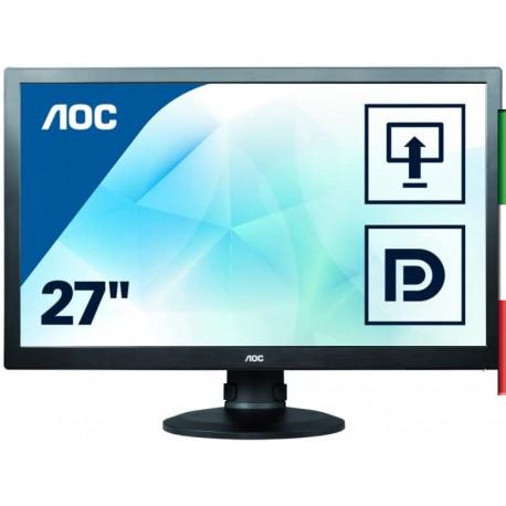 "MONITOR GAMING 27"" AOC E2770PQU (Ricondizionato certificato) GRADO A PIVOT 16:9 1920*1080  VGA DVI HDMI DISPLAY PORT- HUB USB 3"