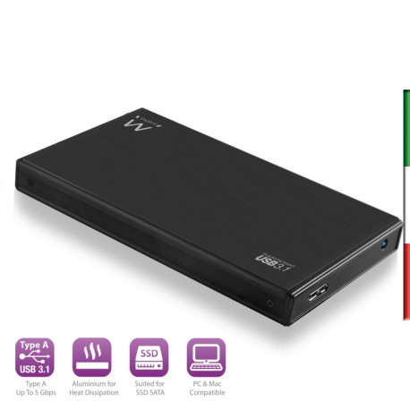 """BOX 2.5"""" EWENT SATA to USB2.0/3.0 Black Alluminium"""