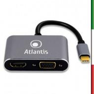 ADATTATORE TYPE_C A HDMI+VGA+PD+HUB CONVERTER ATLANTIS A04-TC_HD+V+PD -RIS.FINO A 1920X1080@60HZ - CAVO 10CM