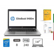 NOTEBOOK HP FOLIO 9480M   (Ricondizionato certificato) - DISPLAY 14 HD -  INTEL I5-4310U - RAM 8G - SSD 250GB - WEBCAM -  SVGA