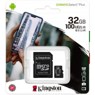 MICRO SECURE DIGITAL 32GB SDCS2/32GB CLASS10 UHS-I 100MB/S + ADATTATORE CANVAS SELECT PLUS KINGSTON
