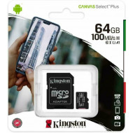 MICRO SECURE DIGITAL 64GB SDCS2/64GB CLASS10 UHS-I 100MB/S + ADATTATORE CANVAS SELECT PLUS KINGSTON