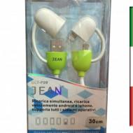 Cavo micro USB + cavo solo ricarica per iPhone 5/5S/6/6 Plus Verde DLT-P09
