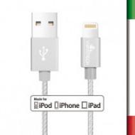 CAVO LIGHTNING 1M M.F.IPHONE 5/6/7Cavo lightning compatibile con iPhone 5/6/7/8, lunghezza 1 metroCavo rivestito in tessuto, co