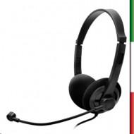 CUFFIA+MICROFONO ATLANTIS P003-USB501 CON REGOLATORE DI VOLUME SUL FILO - NERA- CONN.USB-EAN 8026974022185