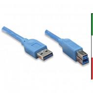 CAVO USB3.0 A/B M/M 1MT BLU