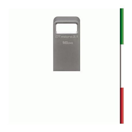 FLASH DRIVE USB3.1 TYPEA 16GB KINGSTON DTMC3/16GB MICRO DATA TRAVELER METAL CASE SILVER