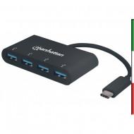 Hub USB-C SuperSpeed 4 Porte USB3.0 A Femmina Nero