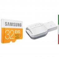 MICRO SD 32Gbyte SAMSUNG EVO CLASSE 10 CON ADATTATORE USB