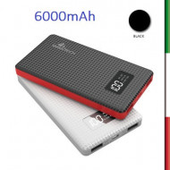 POWER BANK Batteria portatile con 2 porte USB  , max 2.1A , capacita' 6000mAh Display a LED per controllare lo stato dell'uscita