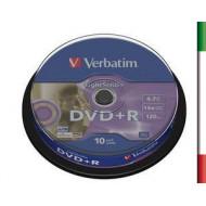 VERBATIM DVD+R 16x 4.7GB 10Pz Spind Silv